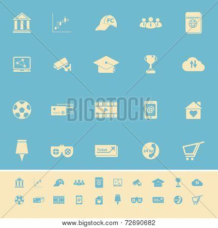 General Online Color Icons On Light Blue Background
