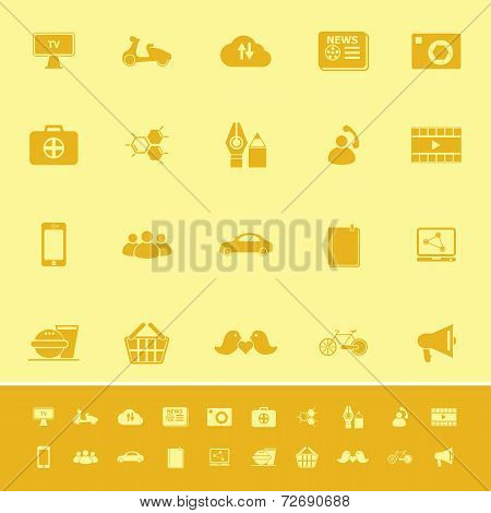 Social Network Color Icons On Yellow Background