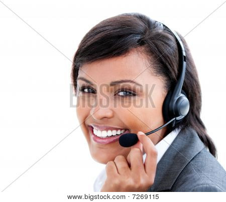 Portrait Of A Female Manager  With Headset On