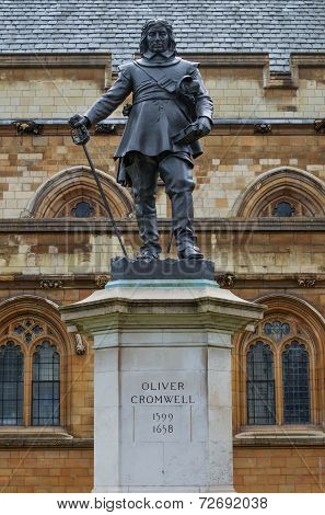 Oliver Cromwell Statue, London, Uk