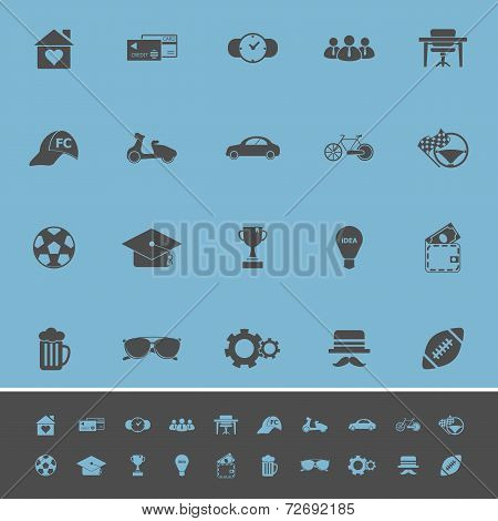 Normal Gentleman Color Icons On Blue Background