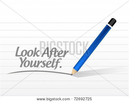 Look After Yourself Message Illustration Design