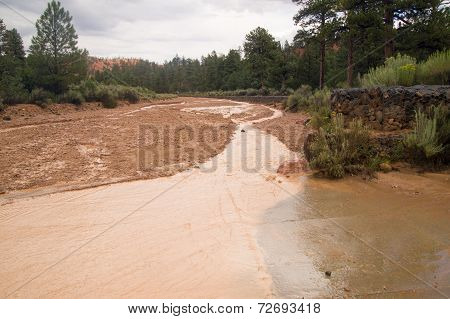 Wash Filled With Rainwater From Flash Floods In Utah