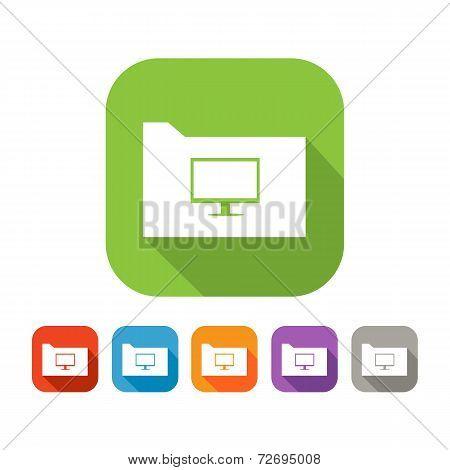 Color set of flat folder with computer