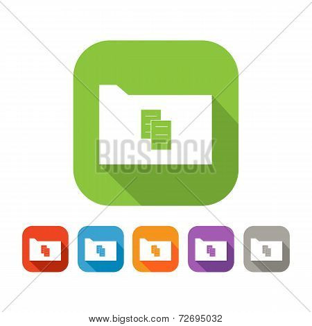 Color set of flat folder with document