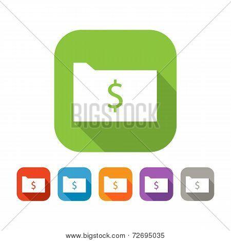 Color set of flat folder with dollar