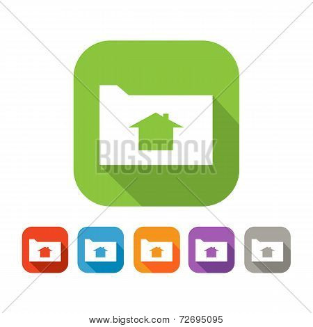 Color set of flat folder with home sign