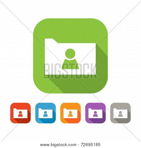 Color set of flat folder with person sign