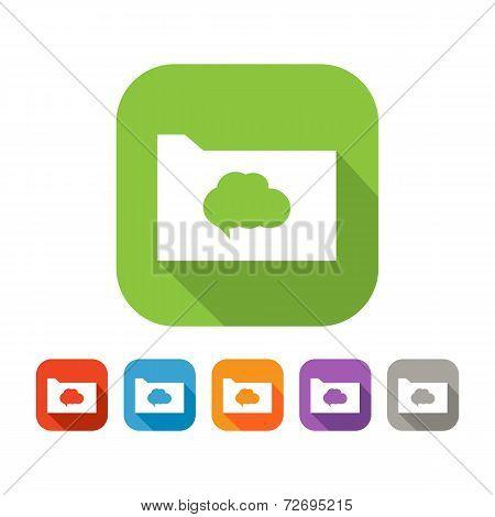 Color set of flat folder with speech bubble