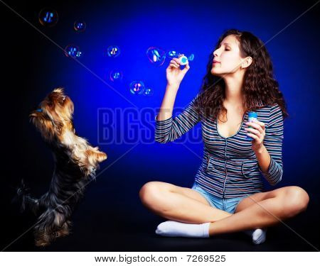 Pretty Girl With Soap Bubbles