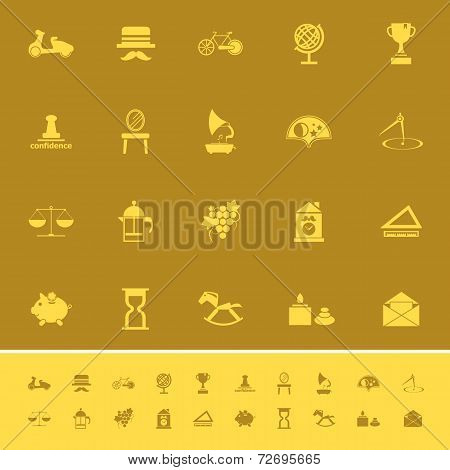 Vintage Item Color Icons On Brown Background