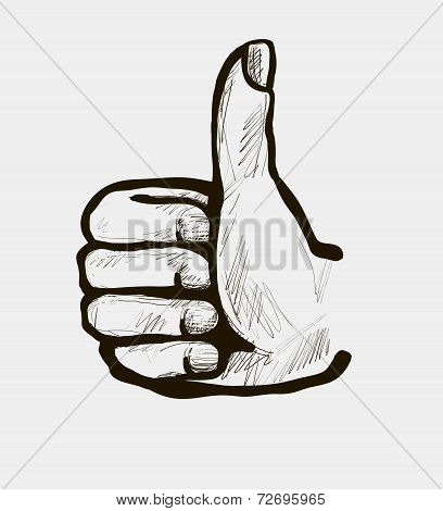 Illustration of a hand giving a thumbs up.