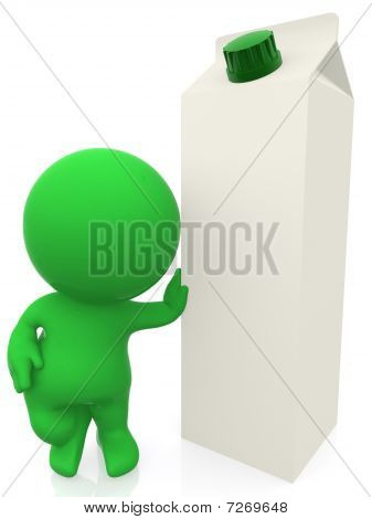 3D Man Leaning On A Milk Carton