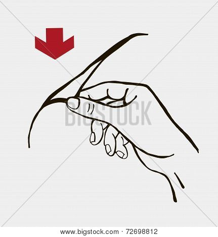 vector illustration of a hand opening the package