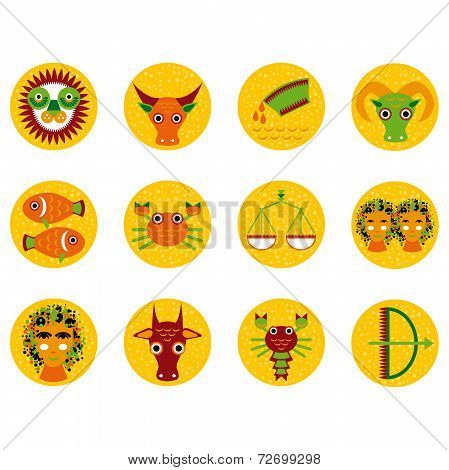 Funny Orange Zodiac Sign Icon Set Astrological, Illustration Vector