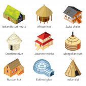 foto of igloo  - Houses of different nations icons photo - JPG