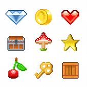 picture of pixel  - Pixel objects for games icons photo - JPG