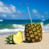 image of pina-colada  - Pina colada on caribbean beach of Atlantic ocean - JPG