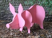 picture of razorback  - Pink wooden pig photographed at Sidmouth in Devon - JPG