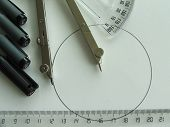 image of protractor  - Technical drawing lesson with compass - JPG