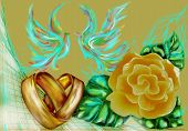 image of ring-dove  - wedding rings and abstract doves with yellow rose - JPG
