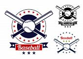 image of baseball bat  - Red and black colored Baseball sport team badges for sport logo and emblem design - JPG