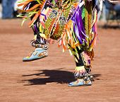 stock photo of native american ethnicity  - Native American dancers in traditonal rigalia perform during a Pow Wow - JPG