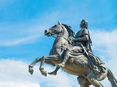 stock photo of great horse  - Monument of Russian emperor Peter the Great known as The Bronze Horseman Saint Petersburg Russia - JPG