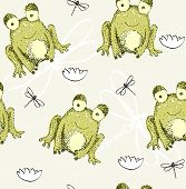 pic of baby frog  - Sweet seamless pattern with frogs and dragonflies - JPG