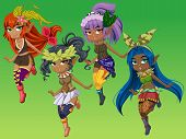 picture of nymphs  - Cute nymphs girls cartoon character with green background - JPG
