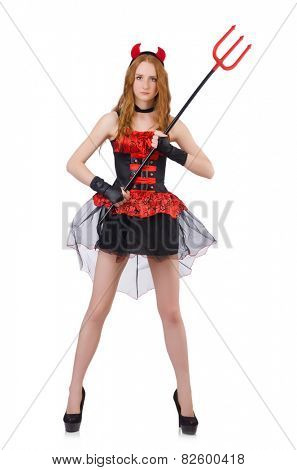 Woman devil with trident on white