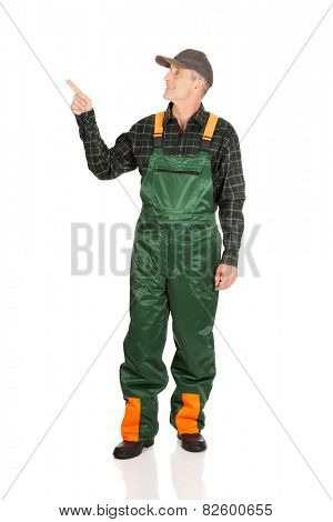 Experienced smiling gardener in uniform pointing up