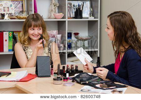 Girl Gets Concealer Under The Direction Of Make-up Artist
