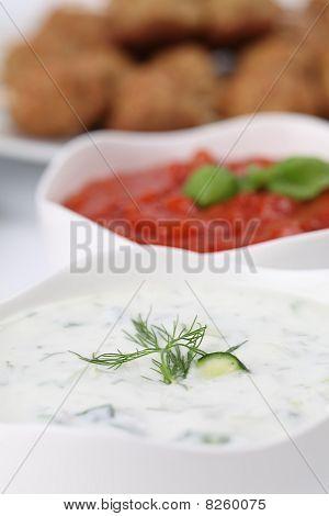 Tzatziki And Tomato Sauce