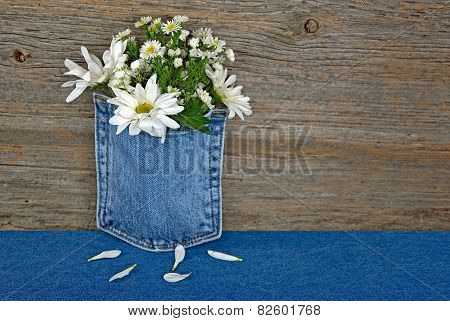 daisy bouquet in denim pocket