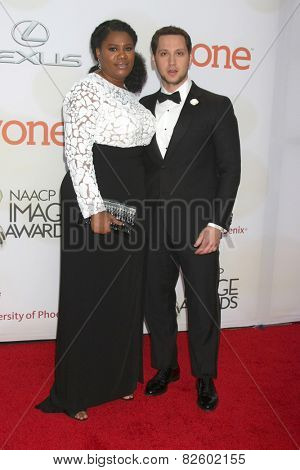 LOS ANGELES - FEB 6:  Adrienne C. Moore, Matt McGorry at the 46th NAACP Image Awards Arrivals at a Pasadena Convention Center on February 6, 2015 in Pasadena, CA