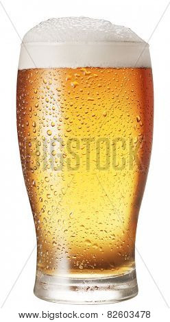 Glass of beer isolated on a white background. Clipping paths.