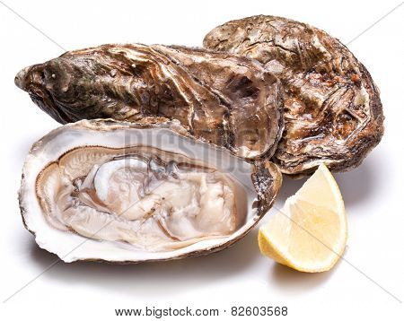 Raw oyster and lemon isolated on a whte background.