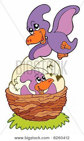 Bebê e mamãe pterodáctilo de desenhos animados