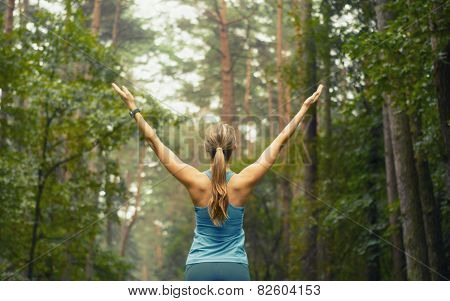 poster of Healthy Lifestyle Fitness Sporty Woman Early In Forest Area