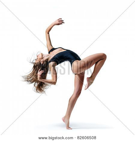 beautiful ballet dancer posing on a iwhite isolated background