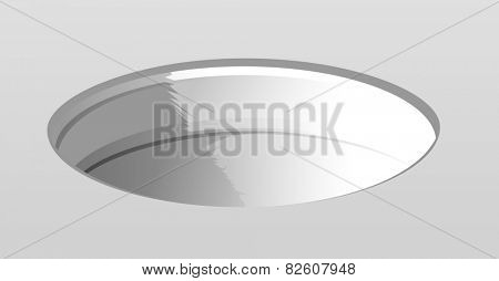 Illustration of an empty white hole in floor