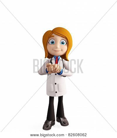 Female Doctor With Promise Pose