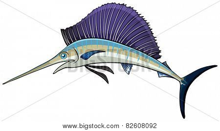 Illustration of a close up swordfish
