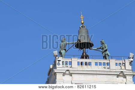 Venice Famous Clock Tower With Blackened Statues From The Elements