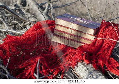 Books In Red Cover Tied With Coarse Thread