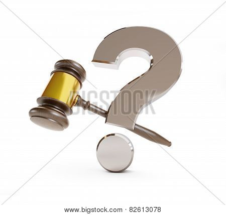 Gavel Question Mark On A White Background