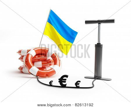 Ukraine Lifebuoy Pump Euro Money On A White Background