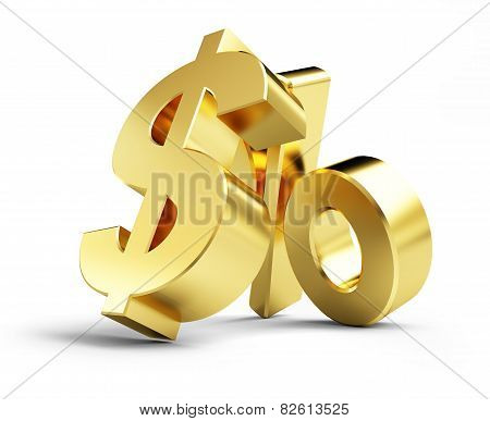 Interest, Gold Dollar Sign, On A White Background 3D Illustrations