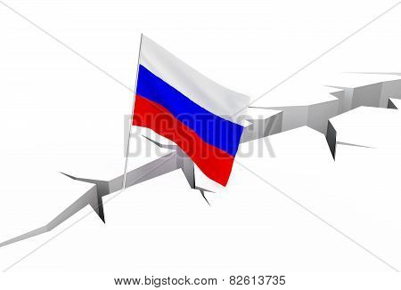 Russian Flag Falls Into A Crevasse On The Ground